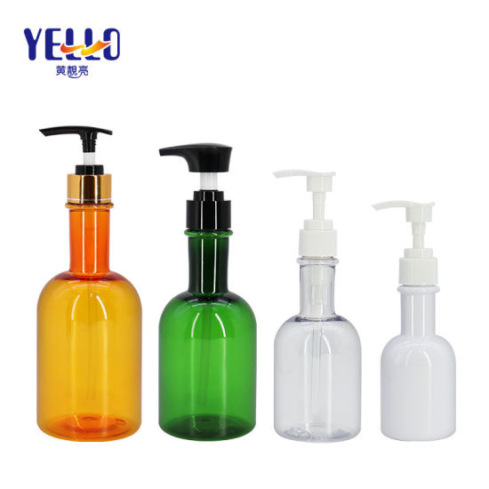 Green Clear Plastic Pet Refillable 100ml 200 Ml 300ml 400 Ml Decorative Shampoo Bottle Packaging with Pump
