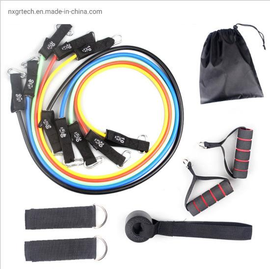 Hot Sales Fitness Exercise Tube 11 PCS Set Latex Resistance Bands Training Yoga Tubes Gym Equipment Set