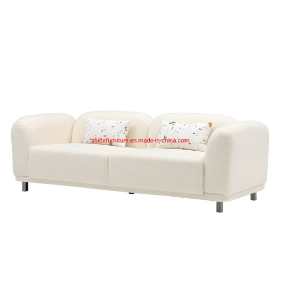White Wool Fabric 3 Seater Sofa, White Modern Sofa