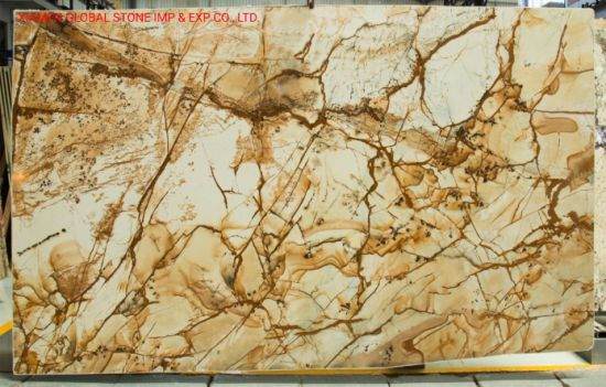 Natural Quartz Stone Slab Luxury Roman Impression Quartzite for High-End Hotel Wall Floor Decoration