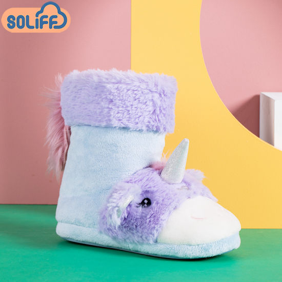 Wholesale Winter Children Shoes, New OEM Unicorn Plush Furry Indoor Kid′s Boots pictures & photos