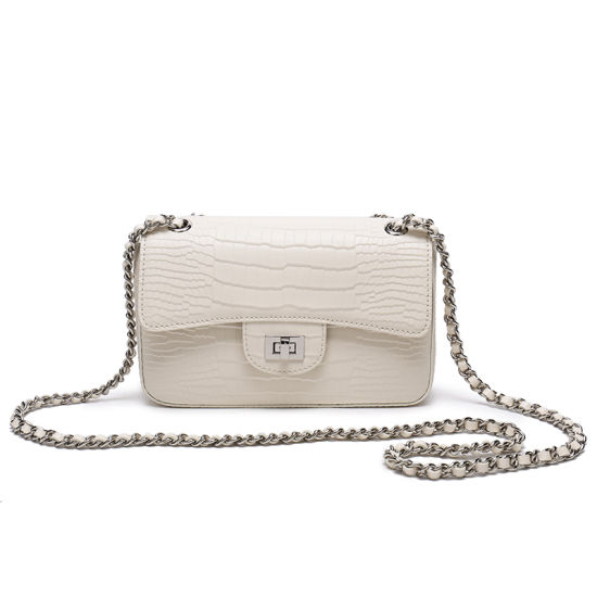 Small Genuine Leather Lady Shoulder Handbag with Chain Strap