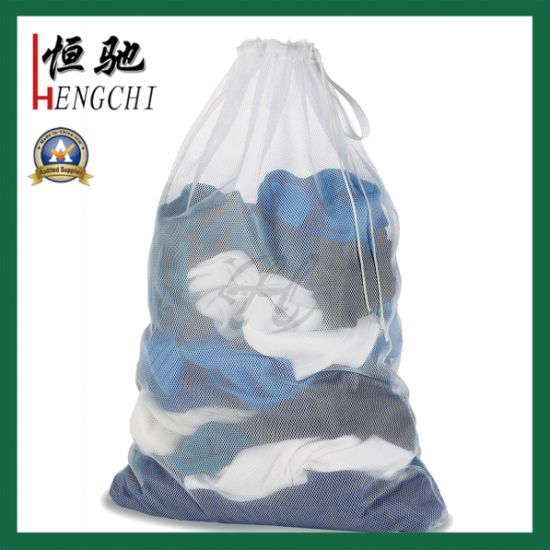 Large Size Polyester Durable Drawstring Mesh Laundry Bag