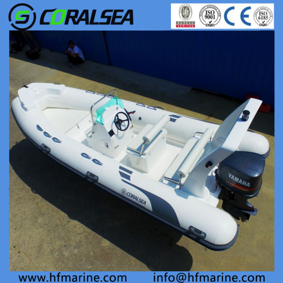 17FT 5.2m Rib Fiberglass Inflatable Fishing/Sport/Motor/Speed/River Boat 520b with Center Console