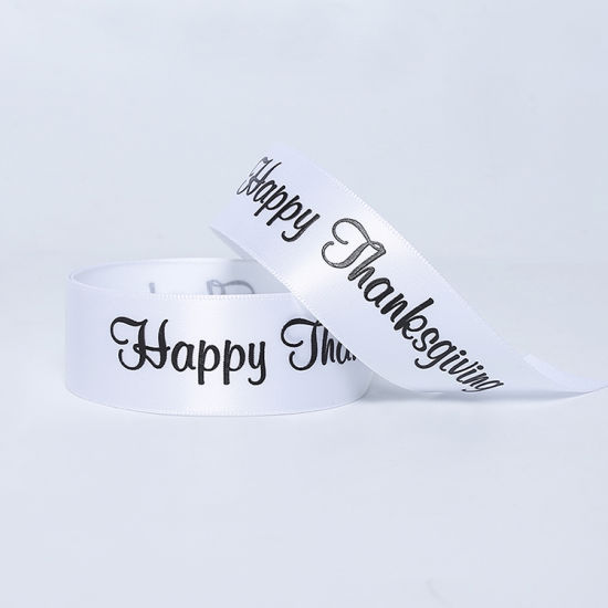 White Satin Riband with Customed printing Thanksgiving Day