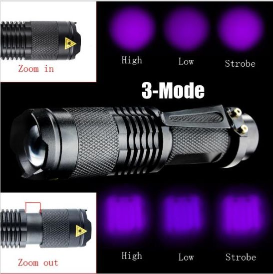 Professional Fluorescent Agent Detection 395nm LED 3 Mode Zoom UV Flashlight Torch Lamp Purple Violet Flashlights for AA/14500 Battery pictures & photos