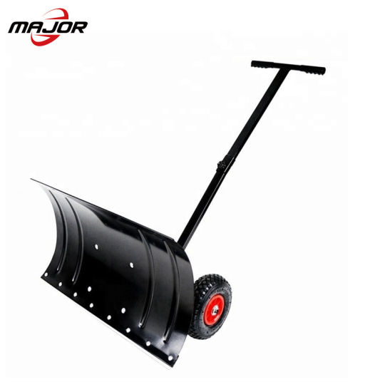Adjustable Wheeled Heavy Duty Rolling Snow Plow Shovels Removal Tool Snow Pusher Garden Cleaning Cart