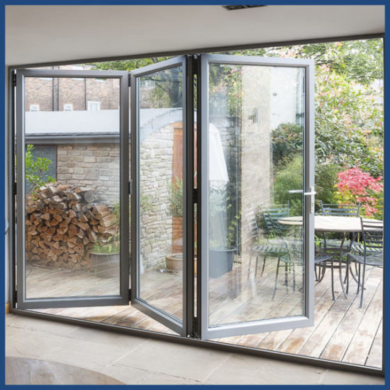 Aluminum Hurricane Impact Double Glass Folding Doors