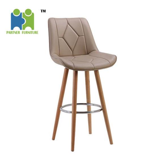 Excellent Base Wood Bar Chair Pu Leather Bar Stool Home Leisure High Machost Co Dining Chair Design Ideas Machostcouk