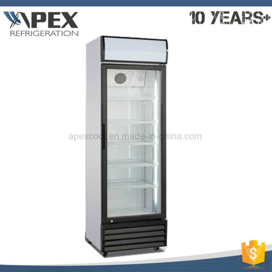 China 360l Single Door Upright Showcase Upright Cooler Glass Door