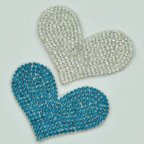 Fashion Heart Shape Hot Fix Rhinestone Patch Decorative Garment Accessories