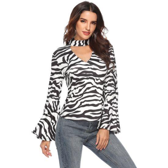 Short Style Women Zebra-Stripe Choker Bell Ruffle Sleeve Shirt