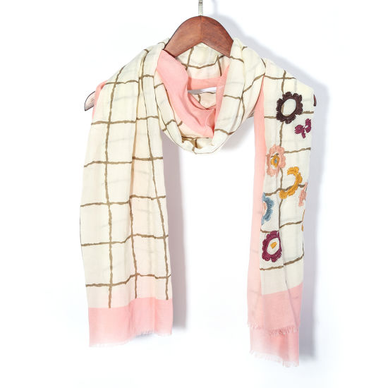 2019 New Style Spring Summer 100% Polyester Digital Printing Embroidered Shawl Scarf
