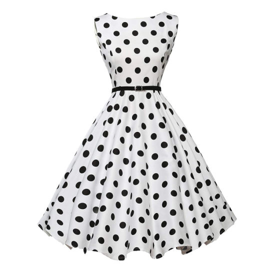 06 White Black DOT Ladies Daily Fashion Prom Birthday Party Dress pictures & photos