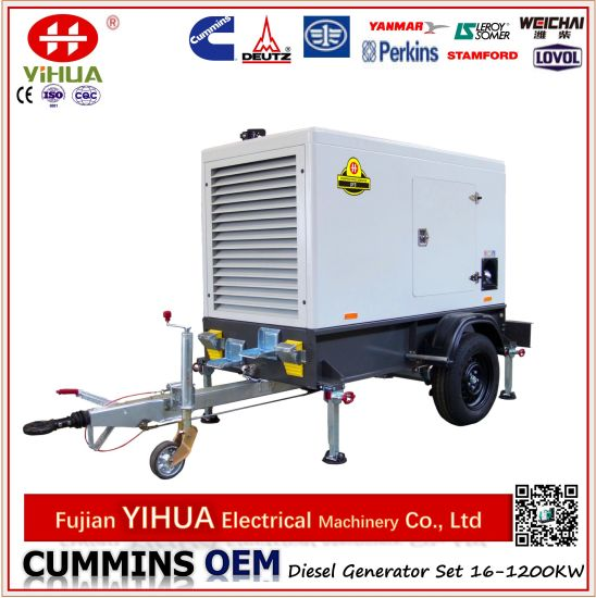 Trailer! Mounted with Wheels Portable Trailer Cummins Diesel Electric Generator pictures & photos