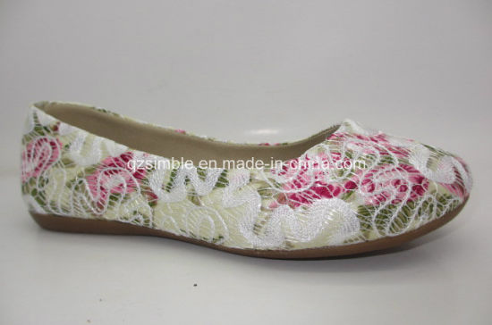 New Design Embroidery Upper Girls Soft Flat Shoes Ballet Shoe