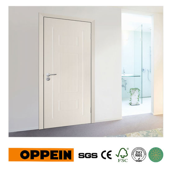 China Oppein Project Mdf Modern White Interior Wooden Door With Pvc