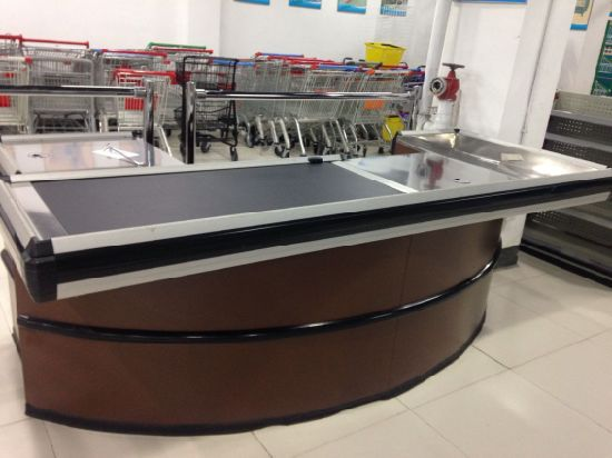 Supermarket Checkout Counter with Conveyor Belt pictures & photos