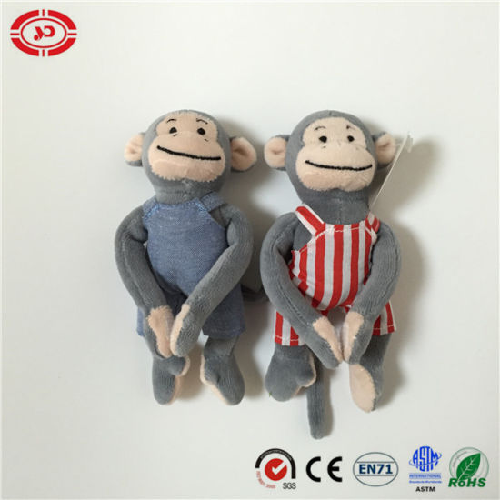 Tiny Plush Monkey with Jeans Lovely Shape Hook & Loop Toy