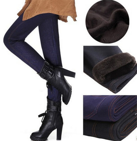 High Quality Plus Size Women Fashion Warm Fur Thick Jeans Tights (14348) pictures & photos