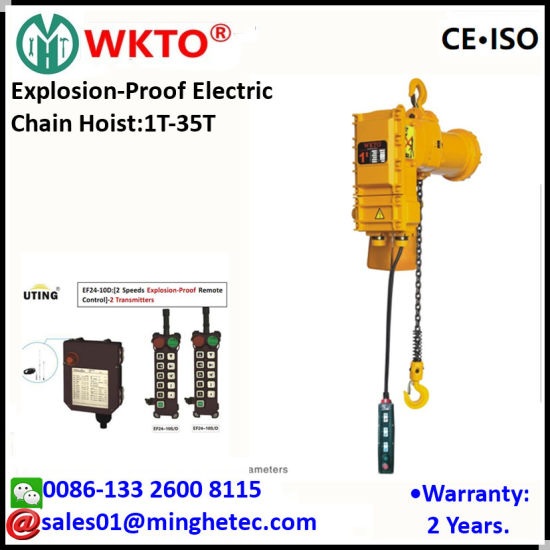 wkto 2t explosion-proof electric chain hoist with fixed hook