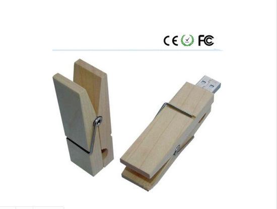 Wooden Material Clip USB Flash Drive 2016