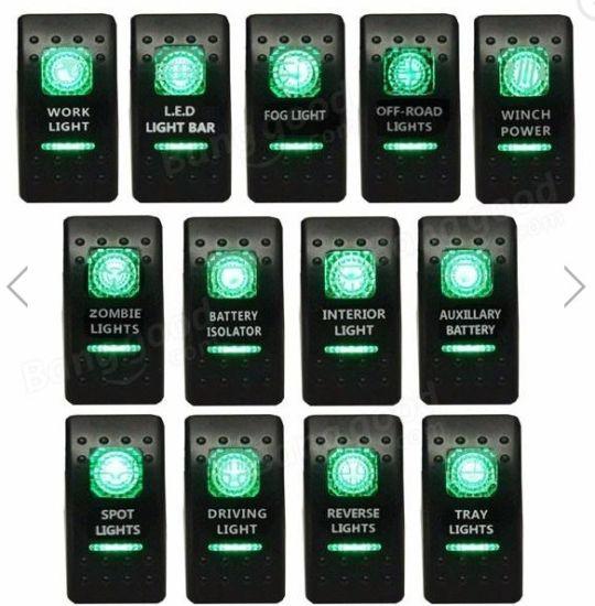 GREEN Laser Etched LED Rocker Switch Dual Light 20A 12V ON OFF INTERIOR LIGHTS