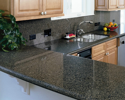 Black Quartz Kitchen Countertop With
