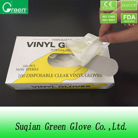 Phthalate Free Clear Powder Free Vinyl Gloves pictures & photos