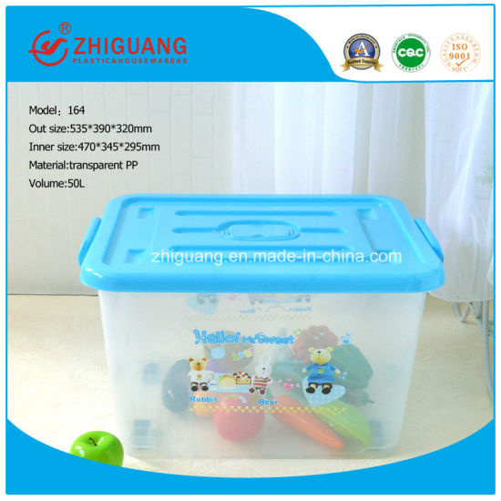 Varied Size Plastic Storage Box 50L Transparent Removeable Plastic Box with Handles