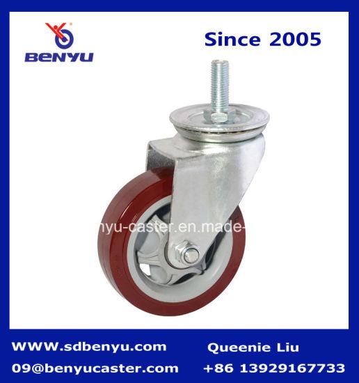 Swivel Caster with Stud Polyurethane Wheel Double Bearing