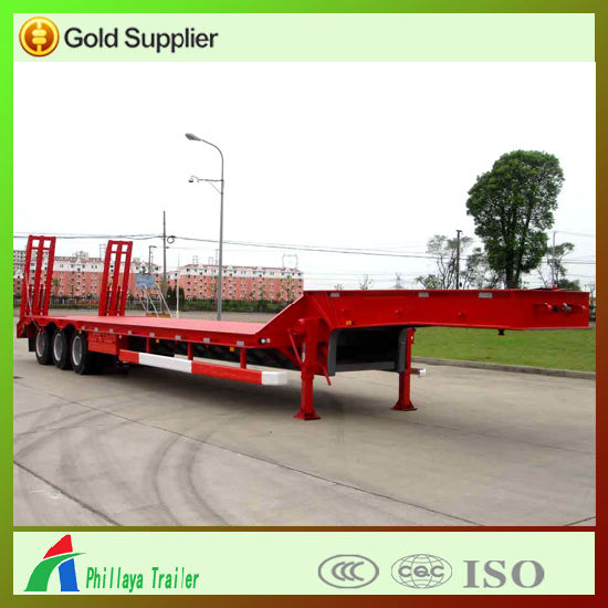 3 Axles Heavy Machine Loading Truck Semi Low Bed Trailer pictures & photos