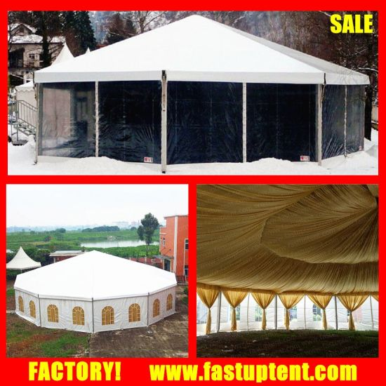 Satin Fabric Linging and Curtain Decorated Decagon Canopy Tent for Sale