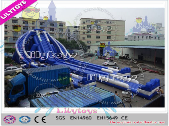 Commercial Three Ways Crazy Water Type Giant Inflatable Trippo Slide pictures & photos