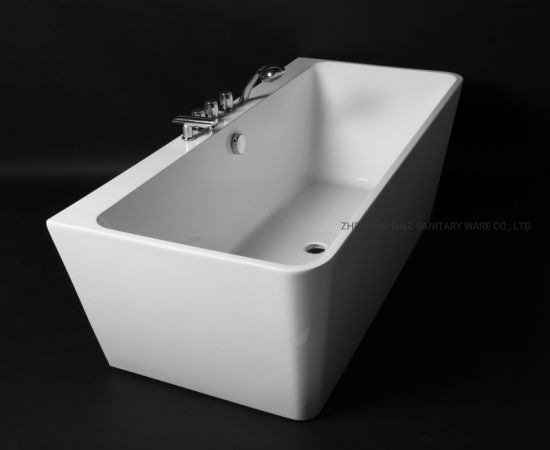 Chinese Used Back to Wall Freestanding Acrylic Bathtub for Luxury Bathroom Design