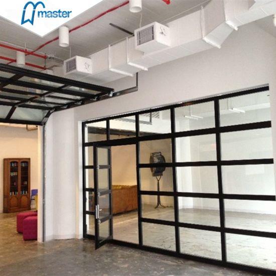 8X7 Clear Glass Aluminum Garage Door with Pedestrian Door