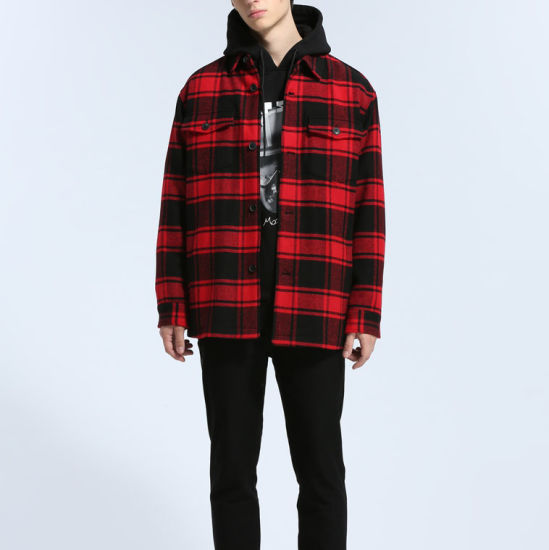 China New Style Oem Factory Man Coat, Red Check Winter Coat
