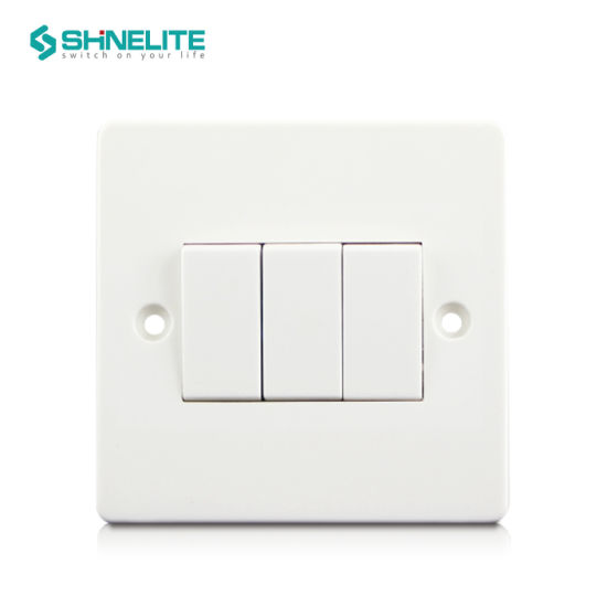 BS 10A 3 Gang 1 Way Electric Wall Switch