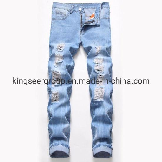 2019 New Design Destroyed Denim Jeans with Tapered Fit for Men Jeans Ks-D005