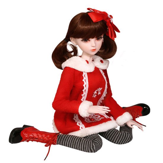 1/3 BJD Doll with Outfit Christmas Dress with Shoes Wigs Makeup Dolls