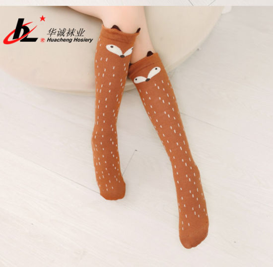 Cotton Anti Slip Cartoon Fox Leg Warmers for Newborns Infant Long Socks pictures & photos