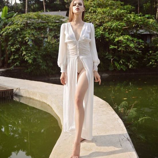 Women Lace Chiffon Front-Button Sexy Lingerie Wedding Gown Robe pictures & photos