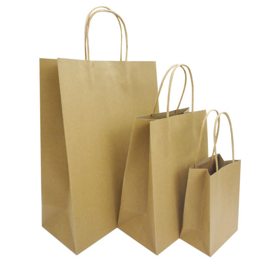 Plain Color Paper Twisted Handle Brown Paper Gift Bag