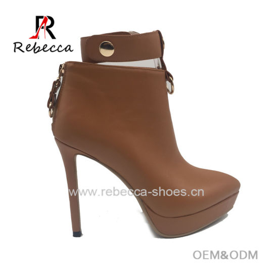OEM Lady Ankle Boots PU Hademade Ankle Strap Stilettos Heel Shoes Wholesale