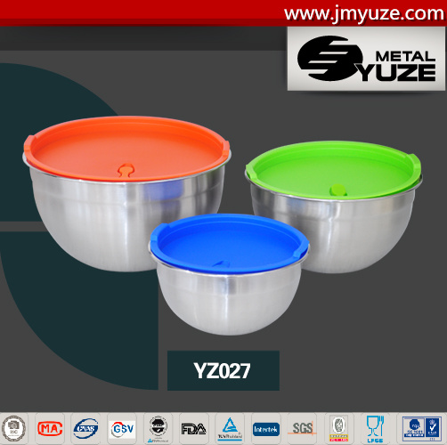 6PCS Mixing Bowl with Plastic Lid, Single Bottom, Bakeware, Kitchen Accessories, Stainless Steel