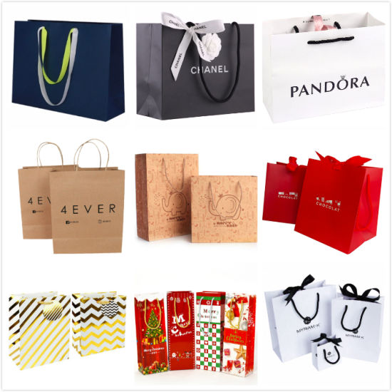 Custom Luxury Recycled Fashion Kraft Paper Packing Printing Gift Jewelry Promotional Cosmetic Packaging Shopping Bag for Clothes Shoes Christmas Wine Perfume pictures & photos