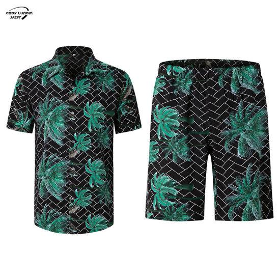 Cody Lundin Wholesale Summer Hawaiian Beach 2 Pieces Set Men Sublimation Printed Short Sleeve Shirt and Short Set