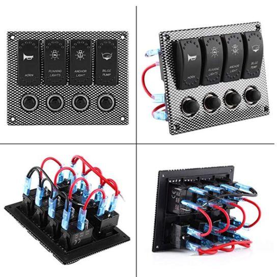 China Rocker Switch Aluminum Panel 4 Gang Toggle Switches