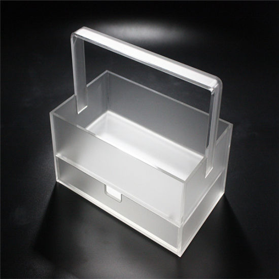 Acrylic Plastic Cosmetics Storage Box Beauty Case Makeup Organizer with Handle