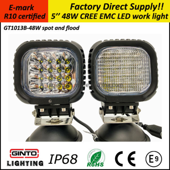 Offroad 48W 5inch Spot/Flood 12V CREE LED Work Light Lamp for Truck Car ATV (GT1013B-48W)